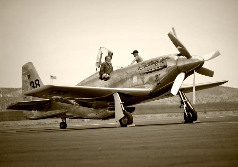 P-51 Mustang on runway at Reno Nevada Air Race qualifying, 6/2011
